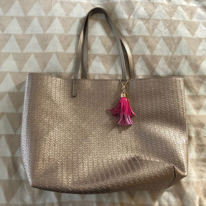 Beautiful Gold Tote Bag with Pink & Gold Accessory